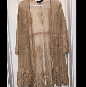 Nude Lace Cover up Kimono
